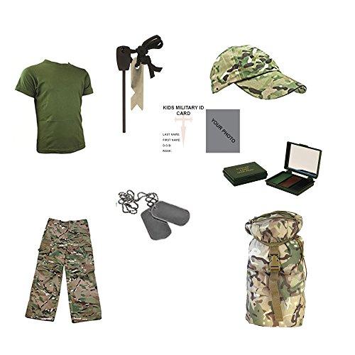 Enfants Lot Y Pantalon, T-Shirt, Casquette, plaques d'identité, 3 Couleur Camouflage Crème, Fire Starter, Sac à Dos et Gratuit Contact Gauche Enfants armée Militaire/Carte d'identité. – MTP