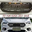 Front Racing LED-Kühlergrill, Hochwertiger Frontstoßstangen-Wabengitter, mit 3 gelben Lichtern, für Ford Escape Kuga 2017 2018, Auto-modifiziertes Zubehör
