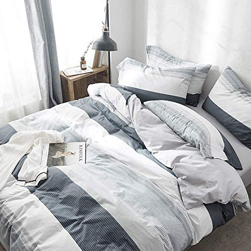 VClife Cotton Duvet Cover Gray Blue White Queen Duvet Cover Sets - Boy Man Luxurious Chic Geometric Bedding Sets with Envelope Pillowcases Good Gift for Kids Teens Adults, Striped Queen Bedding Sets