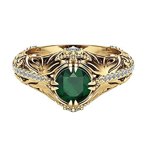 minjiSF Anillo de oro con piedras preciosas verdes para mujeres y hombres, único, tallado, egipcio, anillo de diamante, anillo para mujer, moderno, exagerado, joyería creativa (verde)
