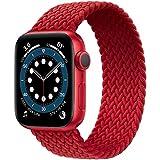 JONWIN Correa Solo Loop Trenzada Compatible con Apple Watch 38mm 40mm,Deportiva de Repuesto de Fibras de Silicona Trenzadas elásticas para Nylon Correa para iWatch Series 6/5/4/3/2/1,SE,Red,3#
