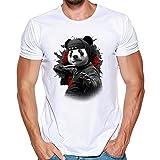 Camisas Hombre Lanskirt Blusas de Manga Corta Hombre 3D ImpresióN DepatróN de Panda Lindo Sudaderas con Cuello Redondo y Tallas Grandes T Shirt Tops de Verano Casual 3XL