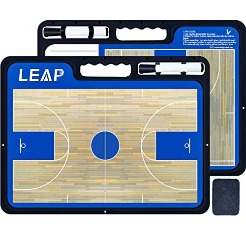 LEAP Coach Board Basketball Tactical Coaching Two Sides with Full & Half Court Feature Premium Dry Erase Tool Icehockey Soccer Baseball Volleyball Football for Kids, Community, High School Team