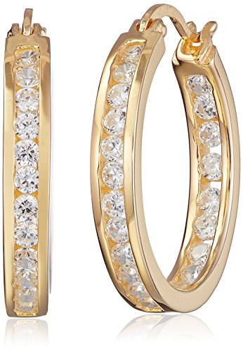 Amazon Collection Goldtone Finish Silver Cubic Zirconia Medium Round Hoop Earrings (3/4 cttw)