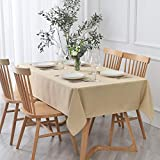 maxmill Textured Rectangle Tablecloth Water Resistant Wrinkle Free Spill-Proof, Soft Jacquard Table Cloth for Buffet Banquet Parties Event Holiday Dinner, Indoor and Outdoor Use, 60 x 84 Inch Beige