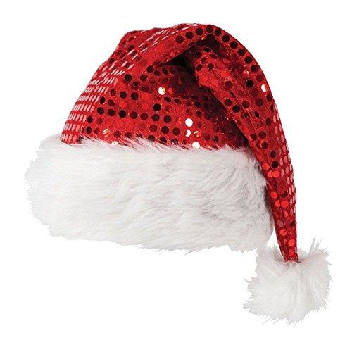 CHIC-Bonnet Noël Christmas Chapeau Paillette Père Noël Pompon Déguisement