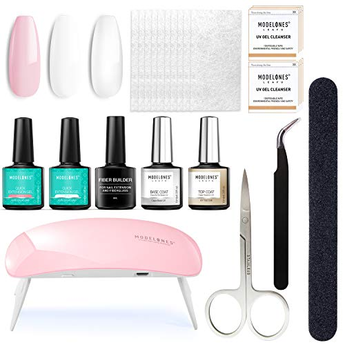 Fiberglass Nail Kit for Nail Art Quick Extension Gel, All-in-One Kit With Instruction Manual, LED Lamp, Fiberglass Silk, Base and Top Coat, Tweezer, Nail File Buffer, Cleanser
