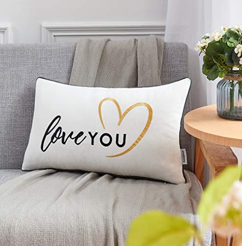 Sunkifover Love You - Funda de almohada decorativa, regalo de amor para novia o novio, funda de almohada lumbar bordada, funda de cojín para sofá, de 30,5 x 50,8 cm, color gris