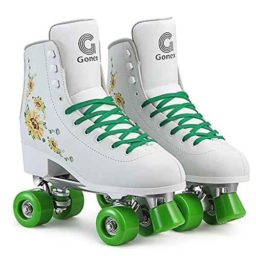Gonex Damen Rollschuhe, Quads Roller Skates für Mädchen Erwachsene Anfänger, High-Top Rollerskates Weiß für Indoor Outdoor Doppelreihig Vierrädrig
