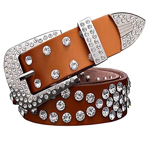 N\C Cinturones de Cuero Genuino para Mujer Cinturones de Cuero para Mujer con Diamantes de imitación