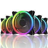 Novonest 120mm RGB PCケースファン LEDリング搭載 静音タイプ 25mm厚 6PIN リモコンで制御 5本1セット 【RGB123-5】