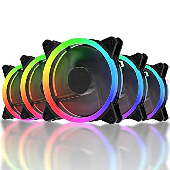 upHere RGB Case Fan Wireless RGB LED 120mm Fan,Quiet Edition High Airflow Adjustable Color LED Case Fan for PC Cases-5 Pack,RGB123-5