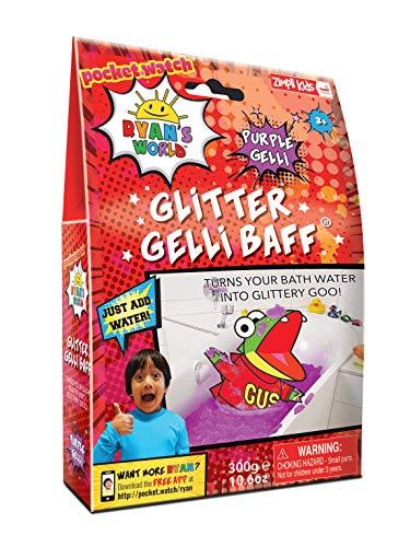Ryan's World Glitter Gelli Baff Paars, 1 Badpak, Kinderzintuiglijk & Badspeelgoed, gecertificeerd biologisch afbreekbaar speelgoed