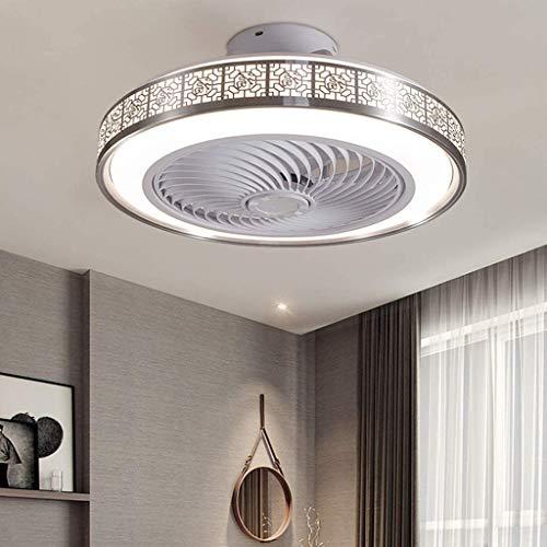 OUJIE Deckenventilator Mit Beleuchtung, 72W LED-Ventilator Mit Fernbedienung, Einstellbare Windgeschwindigkeit Und Dimming Ultra-Quiet Deckenventilator Licht,Silber