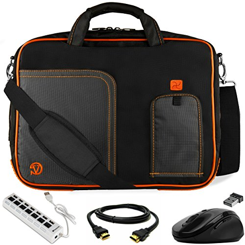 Orange Trim Laptop Messenger Bag 17.3 inch with USB Hub, Mouse, HDMI Cable for Lenovo IdeaPad Y900 Y700 300 110 700 320 330 L340, Legion Y920 Y540 Y730 Y740, ThinkPad P70 P71 P72 P73 17 inch