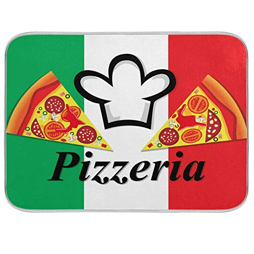 Dish Mat Drying Kitchen Mat Small Pizza Pepperoni Chef Hat In Italy Flag Dish Drying Mats For Kitchen Counter Fast Drying Dishes Sink Drainer Bottle Trivet Rack Countertop Pad