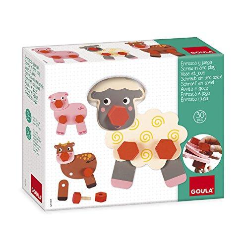 Goula - Enrosca y juega animales granja, Juego preescolar de construcción a partir de 3 años (Juguete)
