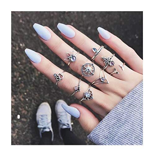 IYOU Vintage Edelsteen Ring Sets Zilver Kristal Knuckle Stapelen Ringen Boho Leaf Mid Rings Sieraden voor Vrouwen en Meisjes(10st.)