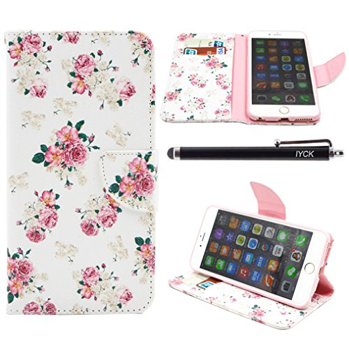 iPhone 6S Case, iPhone 6 Case Wallet, iYCK Premium PU Leather Flip Folio Carrying Magnetic Closure Protective Shell Wallet Case Cover for iPhone 6 / 6S (4.7) with Kickstand Stand - Pink Peony Flower