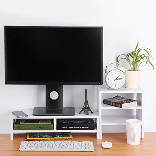 Zerone Monitorerhöhung aus Holz für Laptop und PC, mit Regal