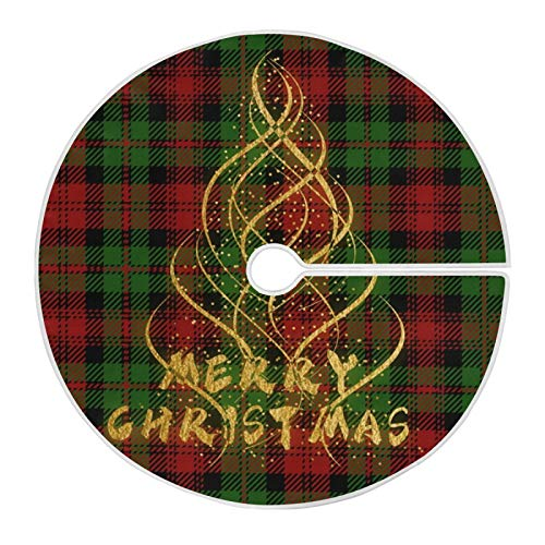 Vipsa Christmas Tree Skirt, 47.2 in (120cm) Merry Christmas Tree On Buffalo Plaid Tree Skirt for Xmas Tree Decorations and Ornaments