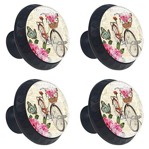 Vintage Rosen, Schmetterlinge und Fahrrad Schrank Knöpfe,Ziehgriffe Schubladenknöpfe Möbelknöpfe mit glas Moebelknauf Griff für Schrank Schubladen Modern Dekorativ Stil