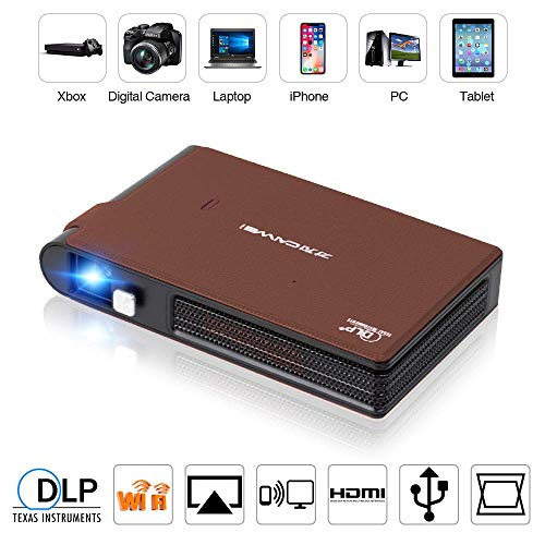 Mini 3D DLP Projector WiFi Supported,3600 Lumen HD Native AirPlay/Miracast Screen Mirror HDMI-in, Portable Pico Video Projectors Home Cinema for Smartphone iPhone,Built-in Battery Auto Keystone zhaoyu