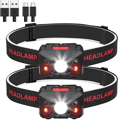 Eletorot Stirnlampe LED Wasserdicht Kopflampe Stirnlampe Led Wiederaufladbar Kopflampen Kopfleuchten LED Headlight 6 Leuch.tmodi, Einstellbar,leicht und ultrahell,inklusive USB Kabel Gehäuse(2 Pack)