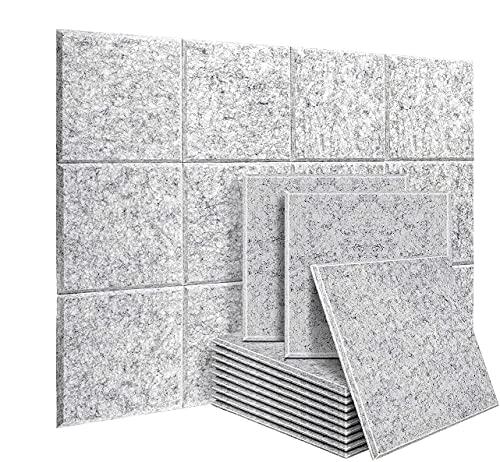uyoyous Akustikplatten 12 Stücke Schallabsorber Schallschutzplatten Akustikpaneele Wand Polyesterfaser Schallabsorbierende Schall-Absorberelement | 40X30CM | Dicke 9mm | Silbergrau