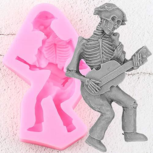 ZPZZPY Halloween Kuchen dekorieren Werkzeuge Skelett Schädel Spielen Gitarre Silikonformen Cupcake Topper Fondant Candy Schokolade Gumpaste Formen
