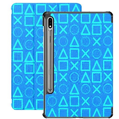 Galaxy Tablet S7 Plus 12,4-Zoll-Fall 2020 mit S-Stifthalter, Moderne Blaue Hintergrund-Spiel Wallpaper Concept Slim Stand Protective Folio Fall für Samsung