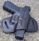 Ottoza Handmade Leather Gun Holster Glock (17/19/19X/23) Right Handed Glock 19 Holster Owb - Glock 19X Holster Owb - Glock 17 Holster Owb - Glock 23 Holster Owb Black Full Grain Leather No:238