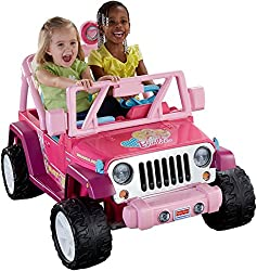 this adorable little barbie motorized jeep is the spitting image of the real thing however it is toddler sized with real doors that open and shut and a