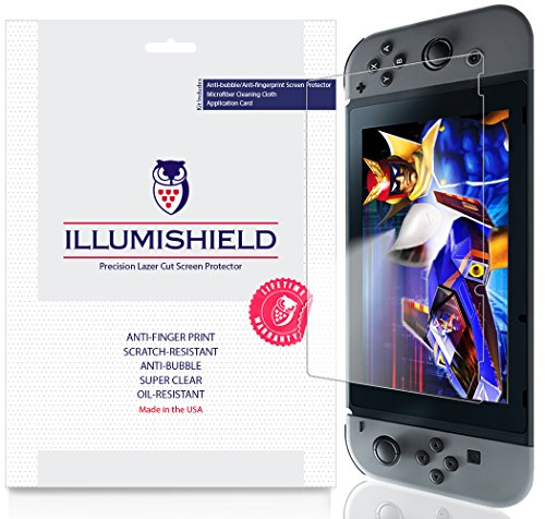 iLLumiShield Screen Protector Compatible with Nintendo Switch (3-Pack) Clear HD Shield Anti-Bubble and Anti-Fingerprint PET Film
