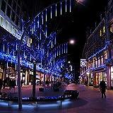 EEIEER 192 mini LED Eiszapfen Lichterkette sternschnuppe Licht für Außen balkon Garten Weihnachten Dekoration 8 StückTube 30 cm Blau - 3