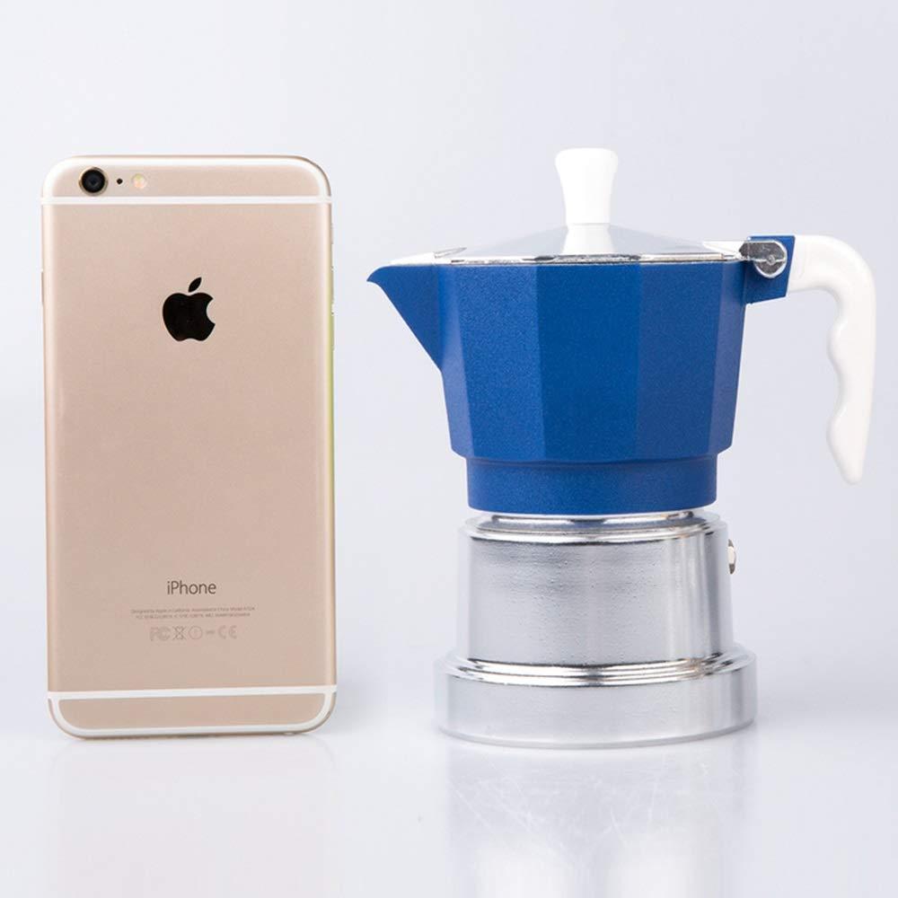 PQXOER Cafetera Moka Coffee Appliance Cafetera exprés cafetera Moka Olla de Aluminio del hogar Mocha Coffee Pot Cafetera Espressos (Color : Blue, Size : 3 Cup): Amazon.es: Hogar
