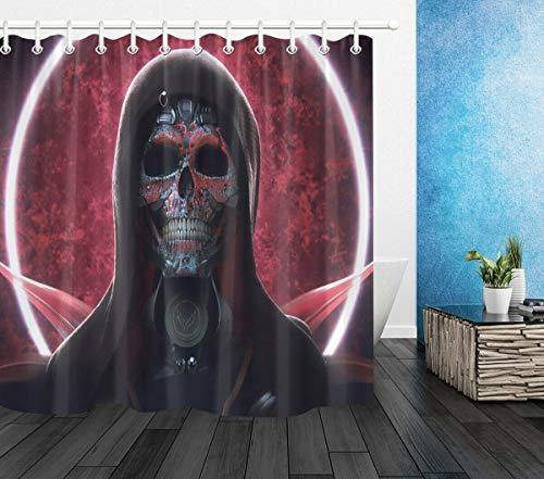 123456789 Schädel Ritter Rot Vollmond Halloween Dekor Duschvorhang Haken Badezimmer Matte LB
