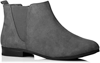 de92e92368ba3 Womens Ladies Faux Leather Suede Chelsea Ankle Boots Black Brown with Pull  On Elasticated Tab Low Block Flat Heel & Rounded Toe School Work Size 3 4 5  6 6.5 ...