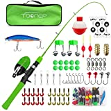 TQONEP Kids Fishing Pole,with Spincast Fishing Reel Tackle Box for Boys, Girls, Youth, Portable Telescopic Fishing Rod and Complete kit with Rotating Fishing Spool. (Green, 120CM 47.24IN)