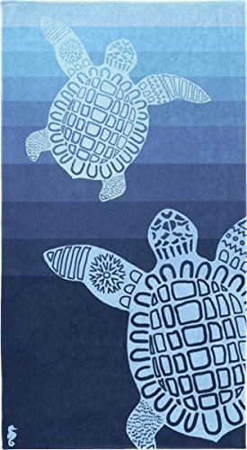 Seahorse - Strandtuch - Badetuch - 100% Baumwolle Turtle/Schildkröte - blau 100 x 180 cm