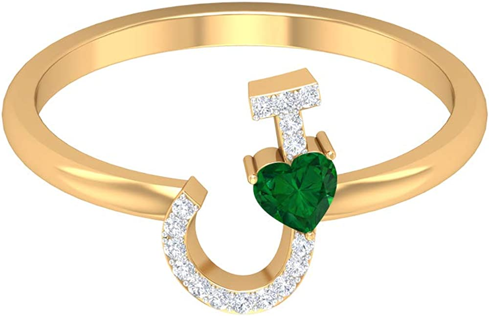 3.50 All stores are sold free shipping MM Heart Shaped Emerald Initial HI-SI Ring J Diamond