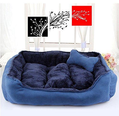 Doghouse Automne et Hiver Dog Bed Puppy Bone Cotton Nest (Couleur : Bleu)