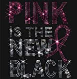 Hope Pink Ribbon Breast Cancer Awareness Motif Iron On Rhinestone Applique Transfer Iron on T Shirt Design