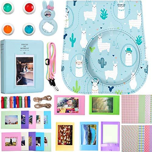 Für Fujifilm Instax Mini 9/8/8 + Instant Kamera Zubehör Bundle, Tasche/2 Mini Album/Selfie Objektiv/6 Farben Filter/Riemen/Aufhängen Frames/Tisch/Aufkleber. Von Saika (9 Stück) (Alpaka)