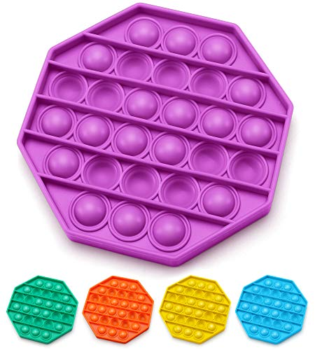 AnanBros Push Pop Bubble Fidget Sensory Toy, Pop Pop Fidget Toy Gifts for Boys and Girls, Stress Relief and Anti-Anxiety Tools for Kids and Adult(Purple Octagon)