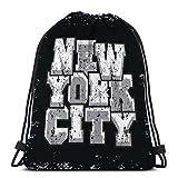 Light Ing Bolso con cordón Bolsa de Gimnasia Deporte de Nueva York Tipografía de Moda Impresión Elegante Ropa Deportiva Ropa Concepto de Ropa Original Moderno