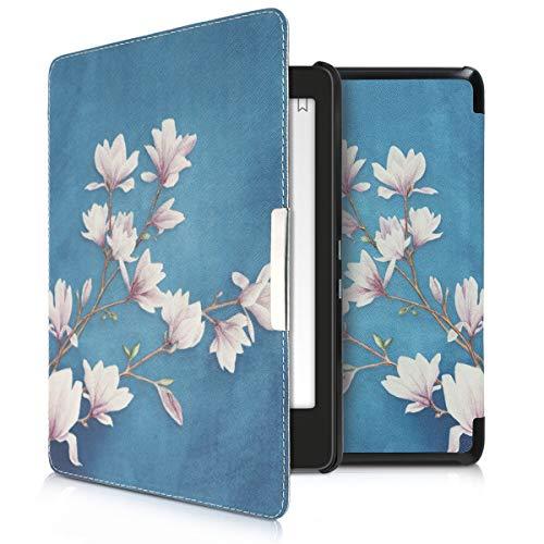 kwmobile Hülle kompatibel mit Tolino Epos - Kunstleder eReader Schutzhülle Cover Case - Magnolien Taupe Weiß Blaugrau