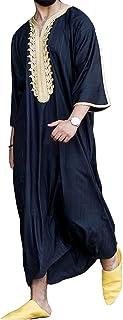 GaoYunQin Hommes Robe Broderie Robe Longue Islam Thobe Peignoir Manche Courte Vêtements de Nuit Chemise de Nuit Pyjamas