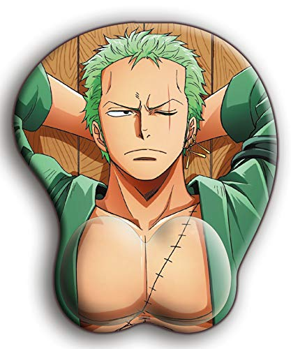 One Piece Roronoa Zoro Custom Anime Mouse Pad with Wrist Support Comfort Silica Gel Ergonomic Gaming Mousepads,3D Anime Mouse Pad for Computer Pc/Laptop