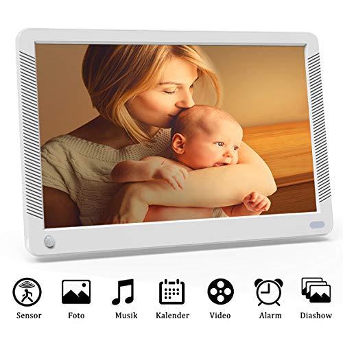 EastPoint Digitaler Bilderrahmen 10 Zoll mit Bewegungssensor, 1920x1080 HD IPS Display Elektronischer Bilderrahmen für Foto/Video/Wecker/Uhr/Kalender/Auto EIN/AUS Timer, Fernbedienung,Weiß